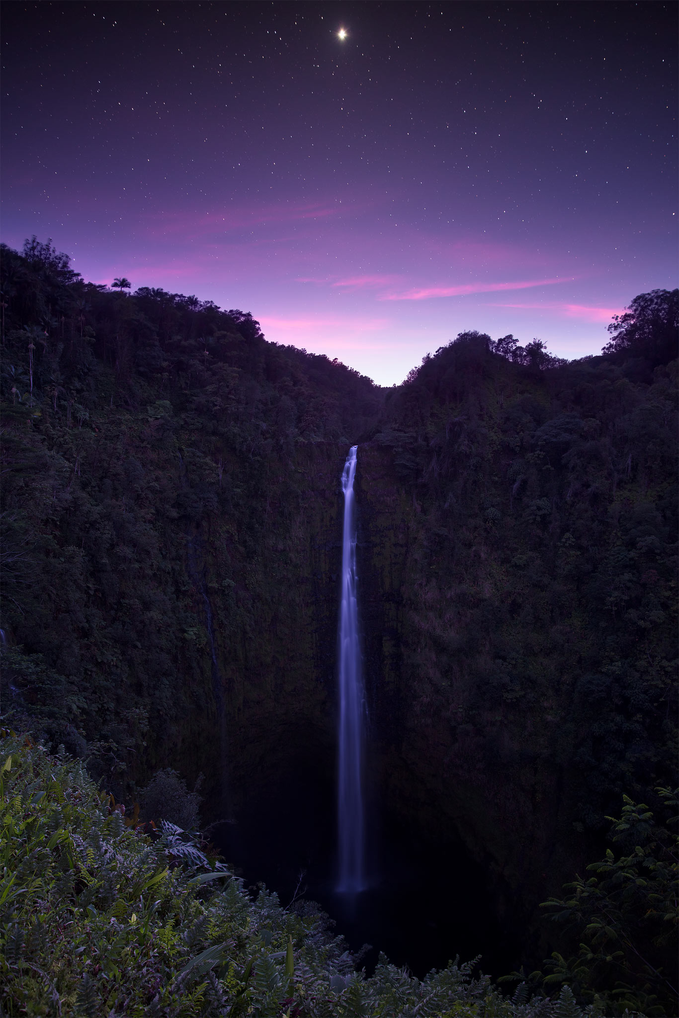 The fleeting light clashed with the stars above Akaka Falls on the Big Island of Hawaiʻi. What was interesting about this photo...