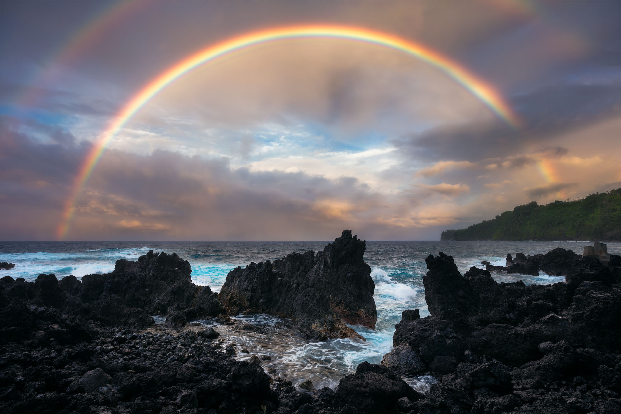 Laupahoehoe, Point, coastline, rainbow, Big, Island, Hawaii, turquoise, ocean, water, east side, blessed, magnificent , photo