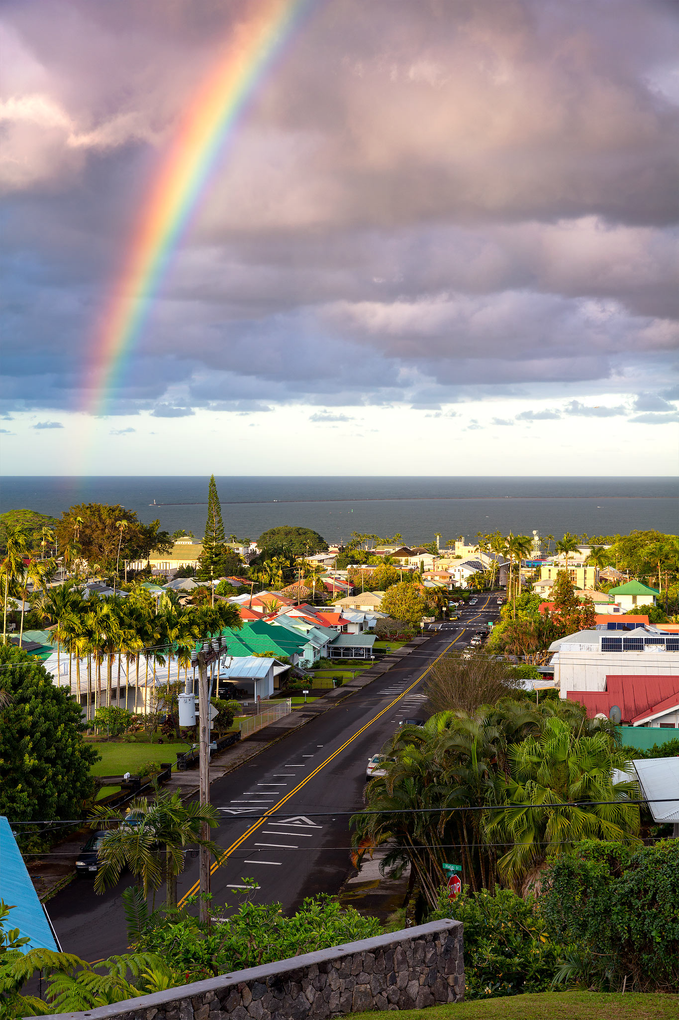I was able to capture a vibrant rainbow over Hilo Bay while looking over the town of Hilo.